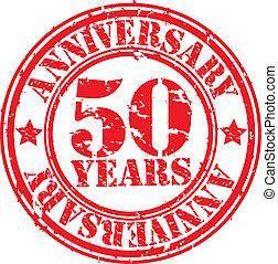 Grunge 50 years anniversary rubber stamp, vector