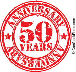 Grunge 50 years anniversary rubber stamp, vector