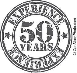 Grunge 50 years of experience rubber stamp, vector...