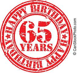 Grunge 65 years happy birthday rubb