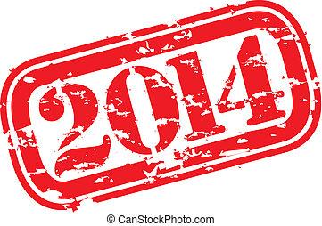grunge, año, caucho, s, nuevo, 2014, feliz