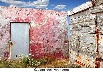 grunge, a mûri, mur, bois, coin, vieilli, rouges