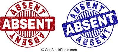 Grunge ABSENT Textured Round Stamp Seals
