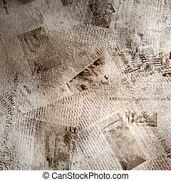 grunge, abstract, achtergrond, met, oud, krant