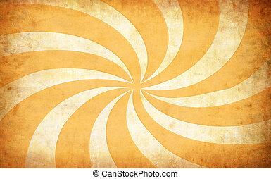 grunge, abstract, achtergrond, zon, gele, ouderwetse , stralen