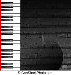 Grunge abstract background with piano keys