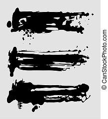 grunge, abstract, borsteel slagen, inkt, set, vector