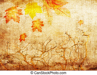 grunge abstract fall background with trees and colorful ...