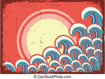 grunge, abstract, illustratie, image., vector, zeezicht