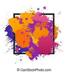 Grunge abstract paint brush colorful background. Vector illustration template with frame and space for text