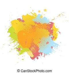 Grunge abstract paint brush colorful background. Vector illustration template with space for text