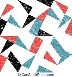 grunge, abstract, pattern., seamless, achtergrond, driehoeken