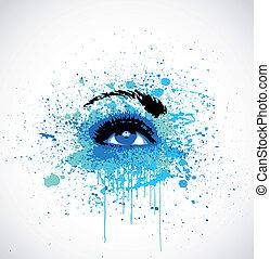 Grunge abstraction blue make-up. Vector