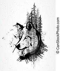 grunge, abstrakcyjny, głowa wilka