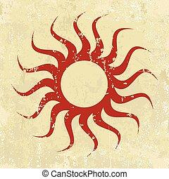 grunge, abstrakcyjny, ilustracja, wektor, sun., tło