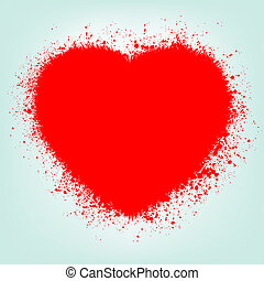 grunge, abstrakcyjny, serce, z, czerwony, splash., eps, 8