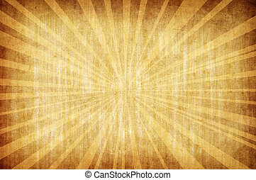 grunge, abstrakt, bakgrund, sol, gul, årgång, stråle