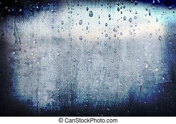 grunge, abstrakt, liten droppe, regna, bakgrund