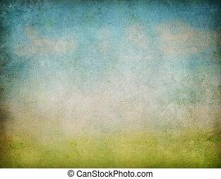 grunge, abstrakt, sky, bakgrund, gräs, landskap