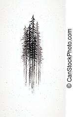 grunge, abstrakt, træer