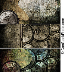 grunge, abstraktní, grafické pozadí, s, antický, clocks