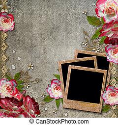 grunge, abstraktní, grafické pozadí, s, růže