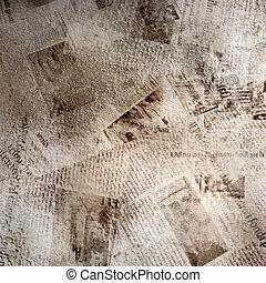 grunge, abstratos, fundo, com, antigas, jornal