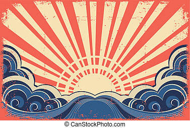 grunge, abstratos, image., cartaz, sunscape