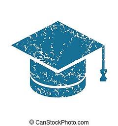 Grunge academic hat icon