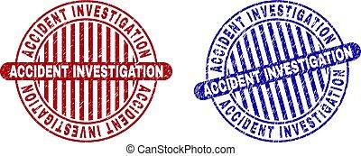 Grunge ACCIDENT INVESTIGATION Textured Round Stamp Seals