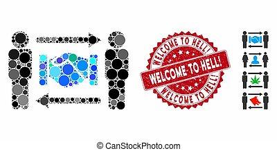 grunge, accueil, timbre, hell!, échange, icône, poignée main, personnes, collage
