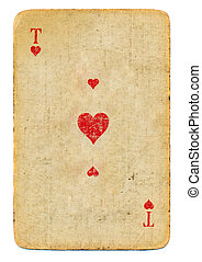 Grunge ace of hearts playing card isolated on white background