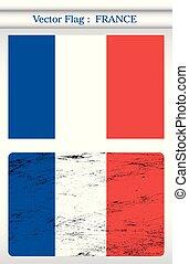 grunge, achtergrond, frankrijk, vector, vlag