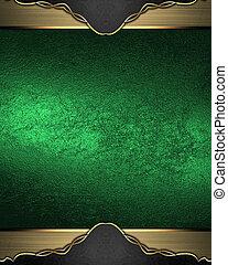 grunge, achtergrond, goud, element, randen, groene, mal,...