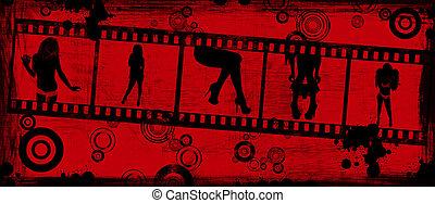 grunge, achtergrond, met, een, filmen wapenbalk, van, vrouwlijk, silhouettes