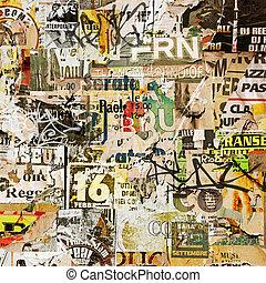 grunge, achtergrond, met, oud, gescheurd, affiches