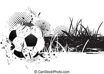 grunge, achtergrond, met, voetbal
