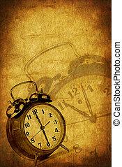 grunge, achtergrond, tijd