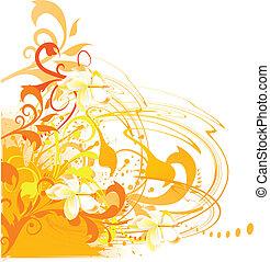 grunge, achtergrond, zomer, floral, vector