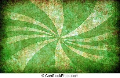 grunge, achtergrond, zon, groene, ouderwetse , stralen