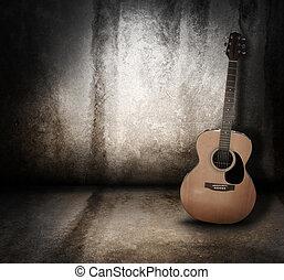grunge, acoustique, fond, musique, guitare