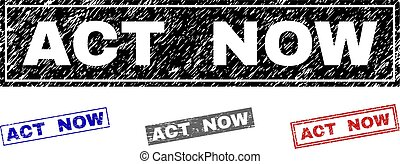 Grunge ACT NOW Textured Rectangle Stamps