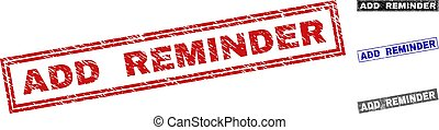 Grunge ADD REMINDER Scratched Rectangle Stamp Seals