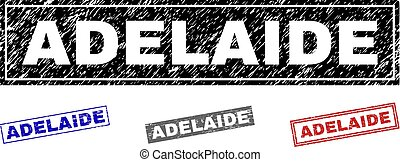 Grunge ADELAIDE Textured Rectangle Stamps