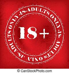 grunge, adulti, francobollo, soltanto, fondo, rosso