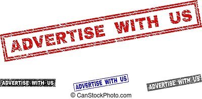 Grunge ADVERTISE WITH US Scratched Rectangle Stamp Seals