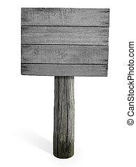 grunge, af træ, signboard, isoleret, baggrund, hvid, tom