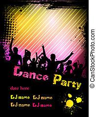 grunge, affiche, cadre, disco, fond, fête