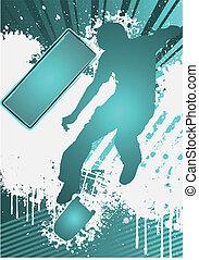 grunge, affiche, skateboarder, silhouette, gabarit