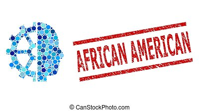Grunge African American Stamp Seal and Cyborg Gear Composition of Circles